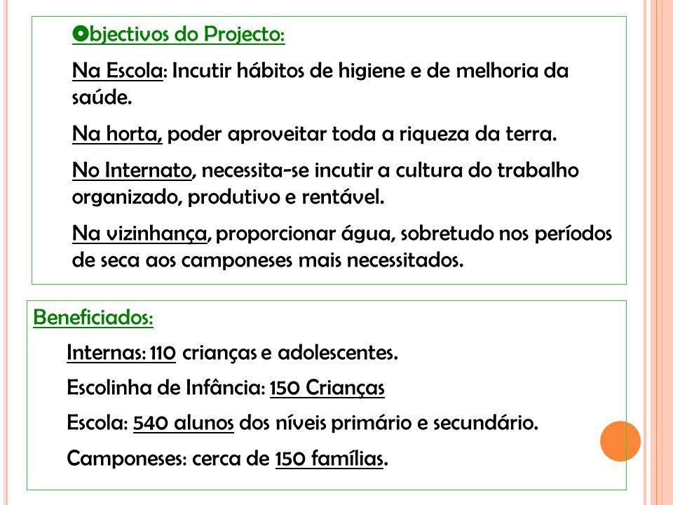 Beneficiados: Internas: 110 crianças e adolescentes.
