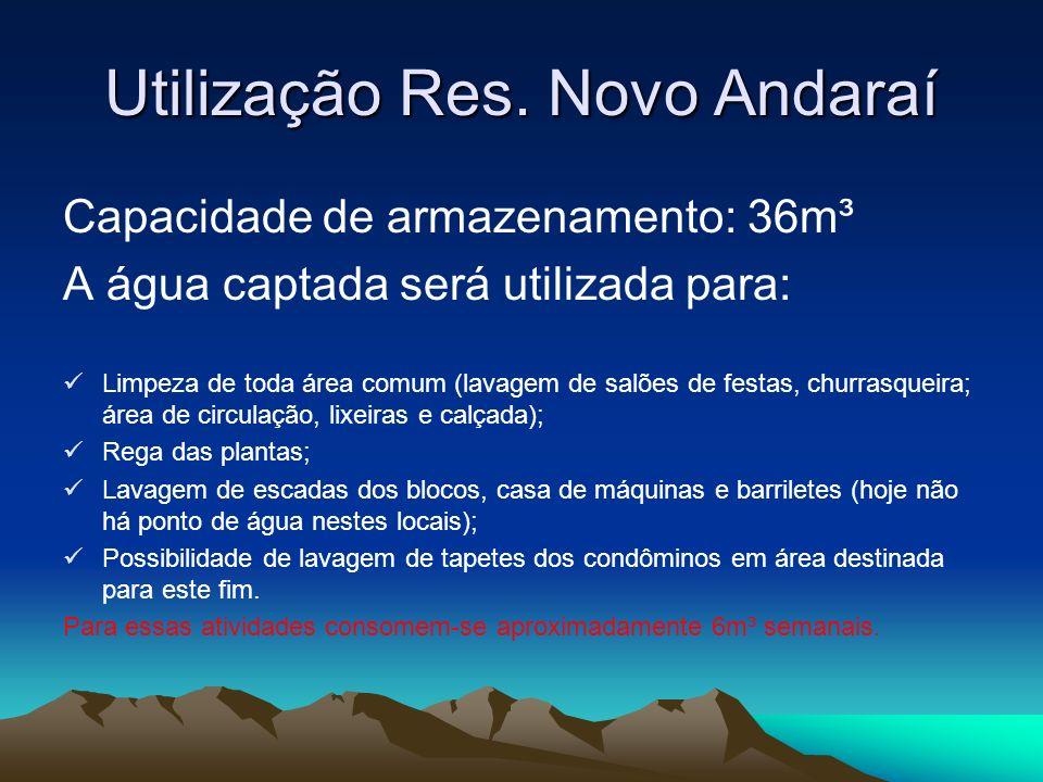 Utilização Res. Novo Andaraí Capacidade de armazenamento: 36m³ A água captada será utilizada para: Limpeza de toda área comum (lavagem de salões de fe