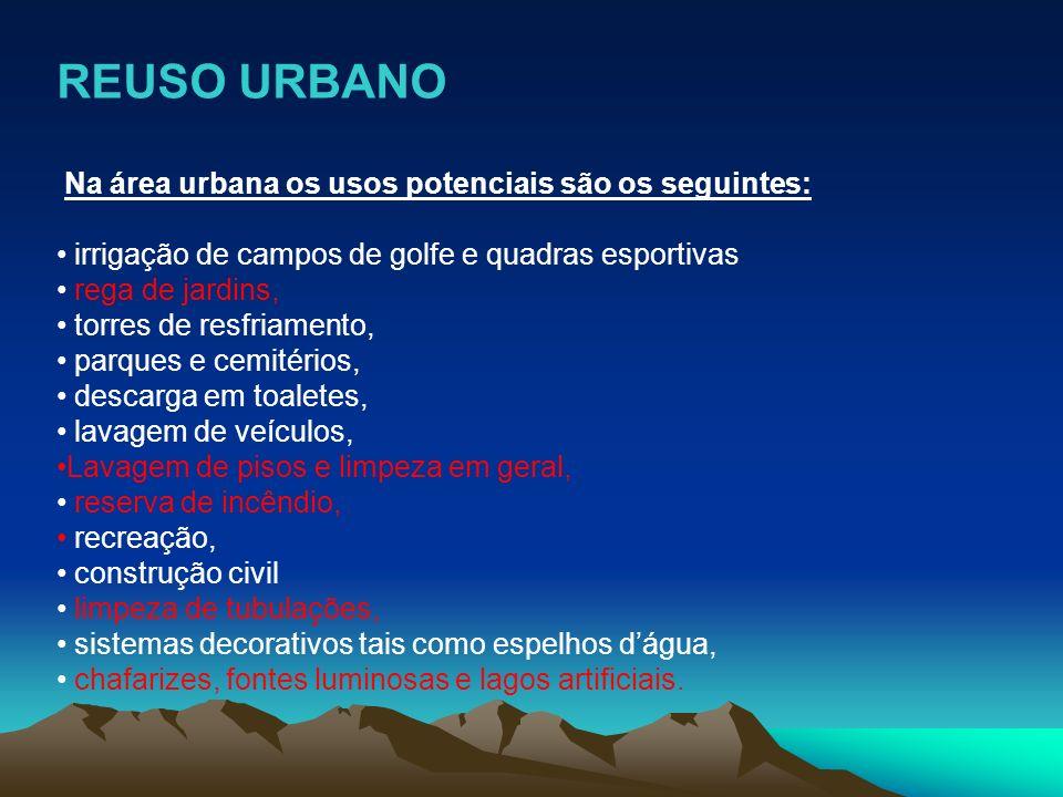 REUSO URBANO Na área urbana os usos potenciais são os seguintes: irrigação de campos de golfe e quadras esportivas rega de jardins, torres de resfriam