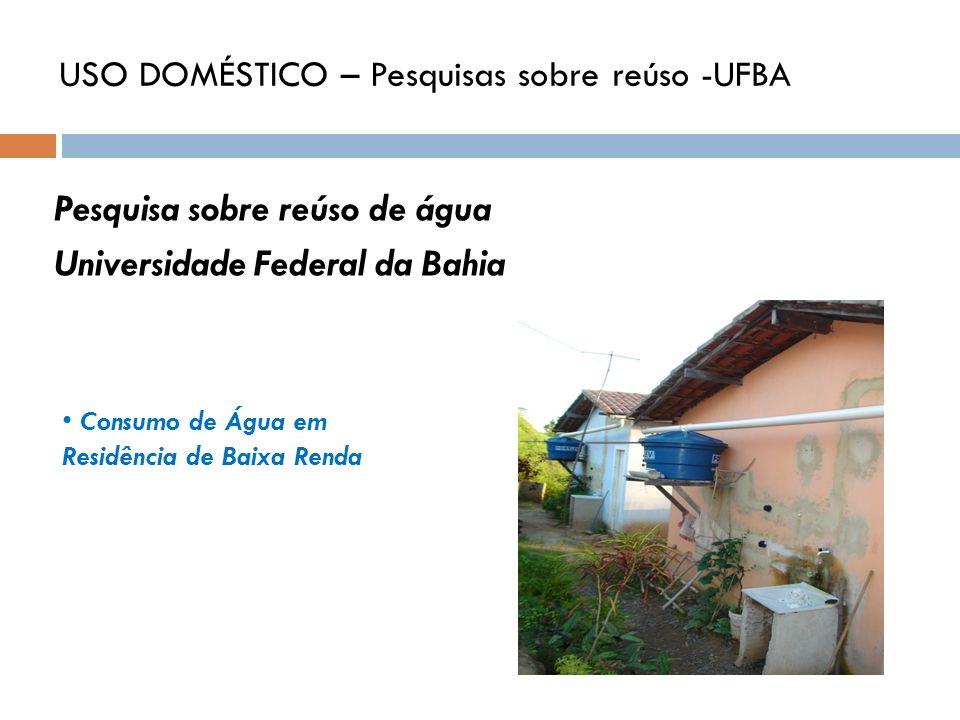 Pesquisa sobre reúso de água Universidade Federal da Bahia Consumo de Água em Residência de Baixa Renda USO DOMÉSTICO – Pesquisas sobre reúso -UFBA