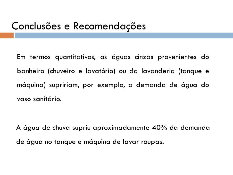 Conclusões e Recomendações Em termos quantitativos, as águas cinzas provenientes do banheiro (chuveiro e lavatório) ou da lavanderia (tanque e máquina