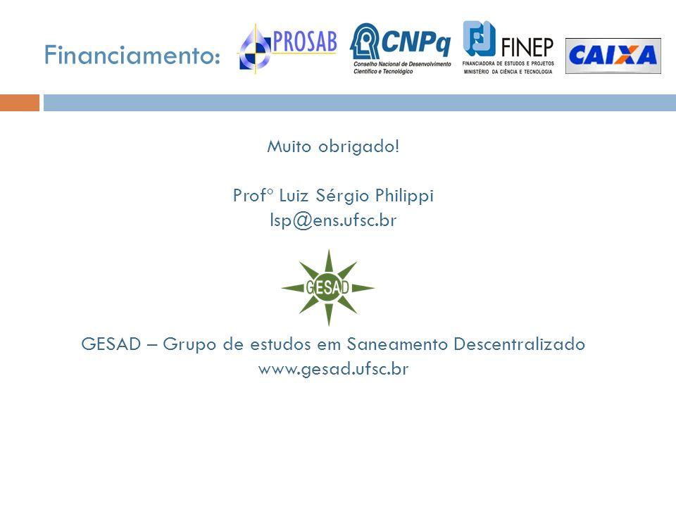 Muito obrigado! Profº Luiz Sérgio Philippi lsp@ens.ufsc.br GESAD – Grupo de estudos em Saneamento Descentralizado www.gesad.ufsc.br Financiamento: