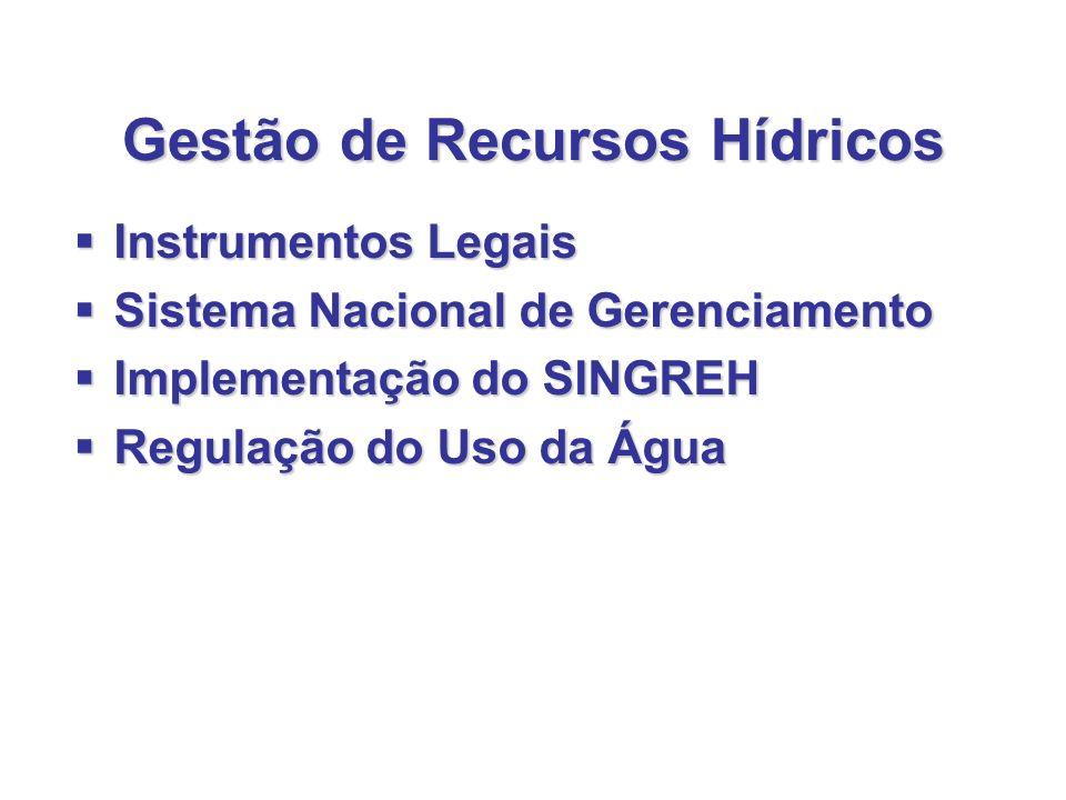 Gestão de Recursos Hídricos Instrumentos Legais Instrumentos Legais Sistema Nacional de Gerenciamento Sistema Nacional de Gerenciamento Implementação