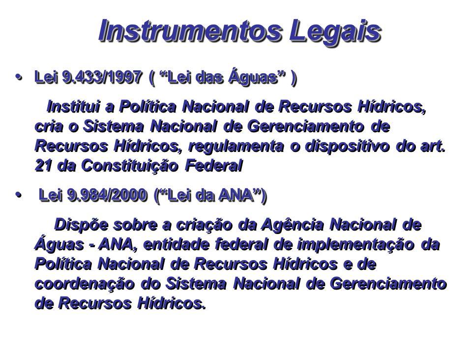 Instrumentos Legais Lei 9.433/1997 ( Lei das Águas ) Lei 9.433/1997 ( Lei das Águas ) Institui a Política Nacional de Recursos Hídricos, cria o Sistem