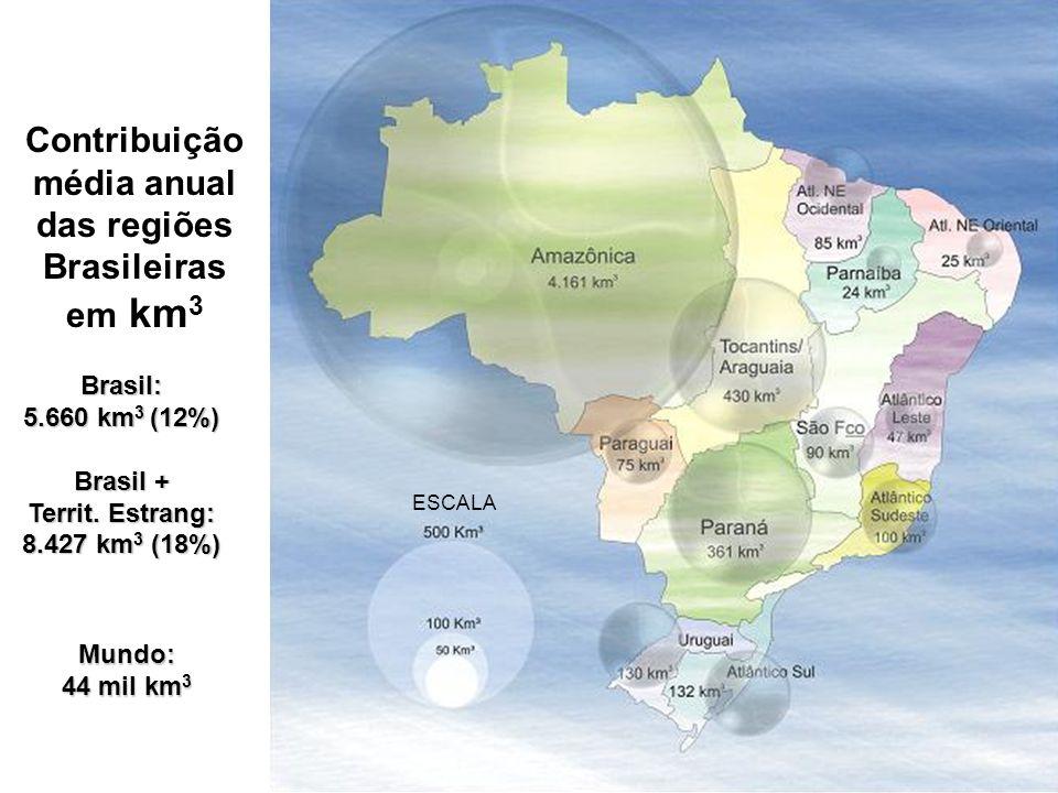 Contribuição média anual das regiões Brasileiras em km 3 ESCALA Brasil: 5.660 km 3 (12%) Brasil + Territ. Estrang: 8.427 km 3 (18%) Mundo: 44 mil km 3