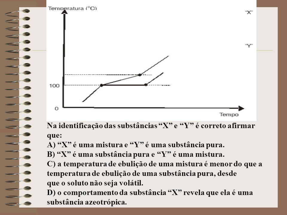 Na identificação das substâncias X e Y é correto afirmar que: A) X é uma mistura e Y é uma substância pura. B) X é uma substância pura e Y é uma mistu