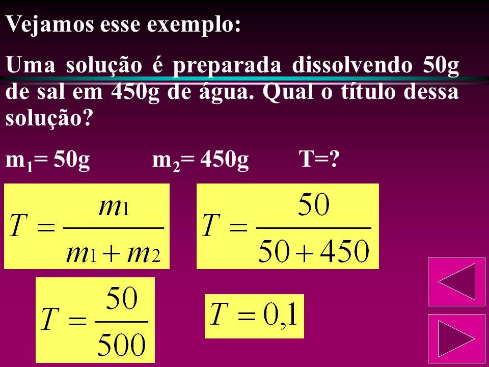 Para conhecer a porcentagem em massa de soluto na solução, basta multiplicar o título por 100. Se o título de uma solução é 0,4, isso significa que a
