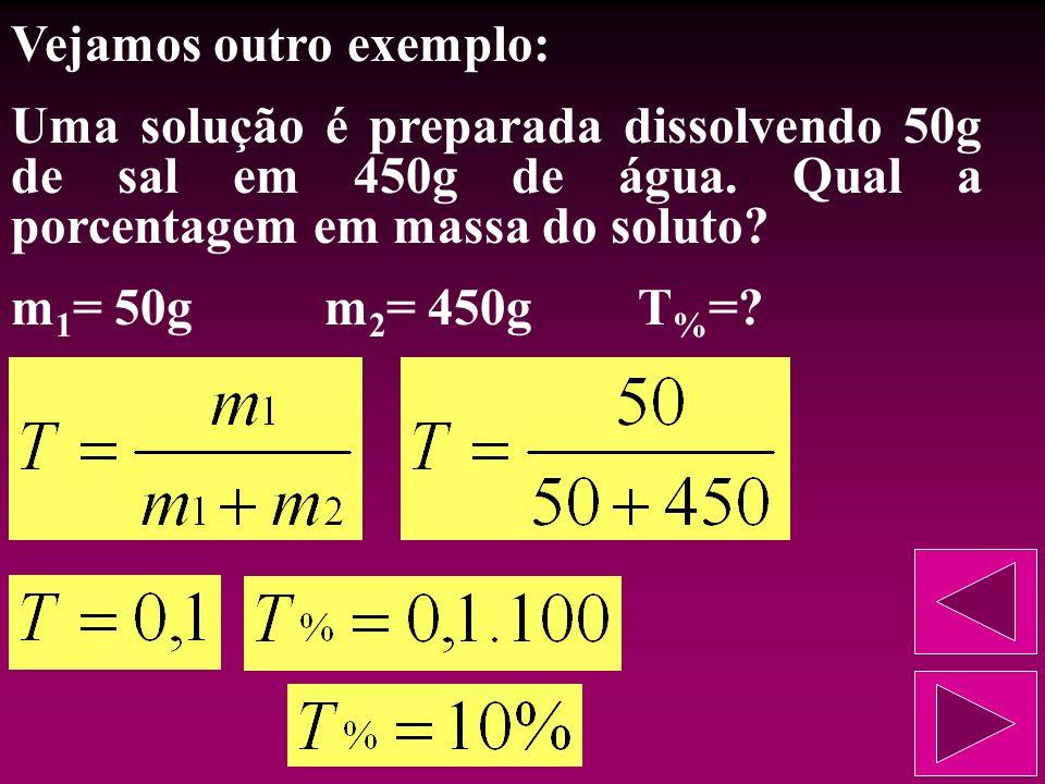Vejamos esse exemplo: Uma solução é preparada dissolvendo 50g de sal em 450g de água. Qual o título dessa solução? m 1 = 50gm 2 = 450gT=?