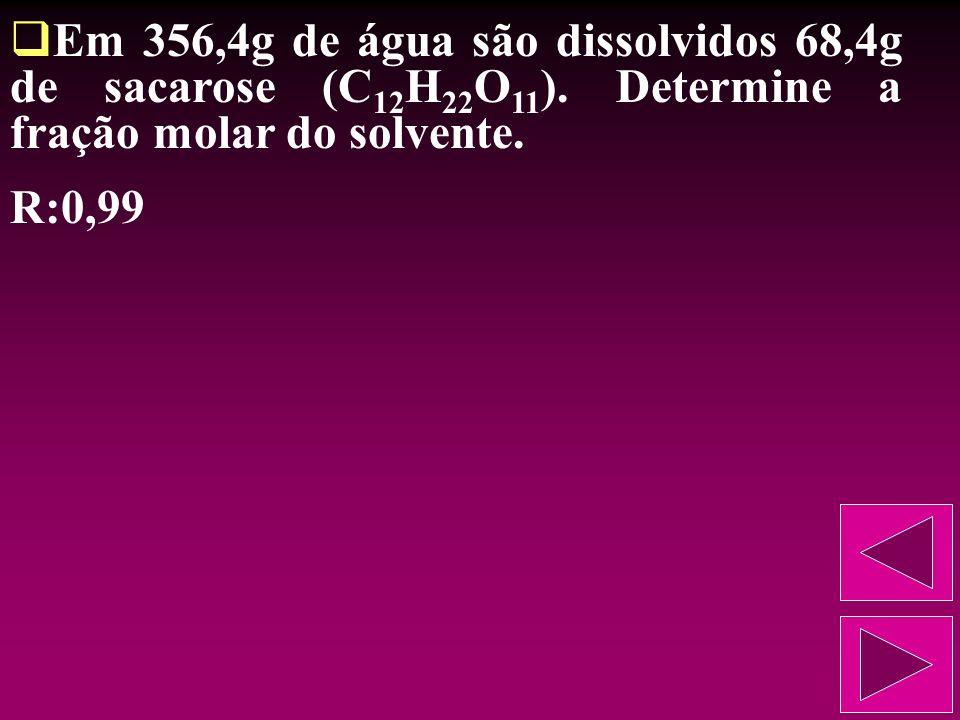 Numa determinada solução, o número de moles de soluto é a terça parte do número de moles do solvente. Descubra a fração molar do soluto. R:0,25