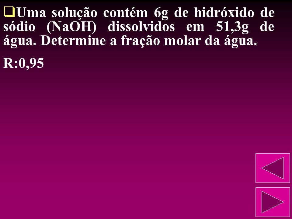 Numa determinada solução, o número de moles de soluto é a terça parte do número de moles do solvente. Descubra a fração molar do solvente. R:0,75