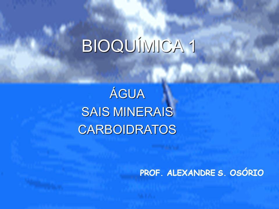 BIOQUÍMICA 1 PROF. ALEXANDRE S. OSÓRIO ÁGUA SAIS MINERAIS CARBOIDRATOS