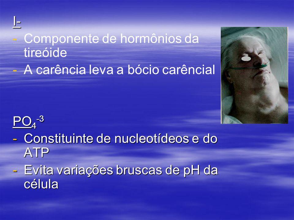 I- - -Componente de hormônios da tireóide - -A carência leva a bócio carêncial PO 4 -3 -Constituinte de nucleotídeos e do ATP -Evita variações bruscas de pH da célula