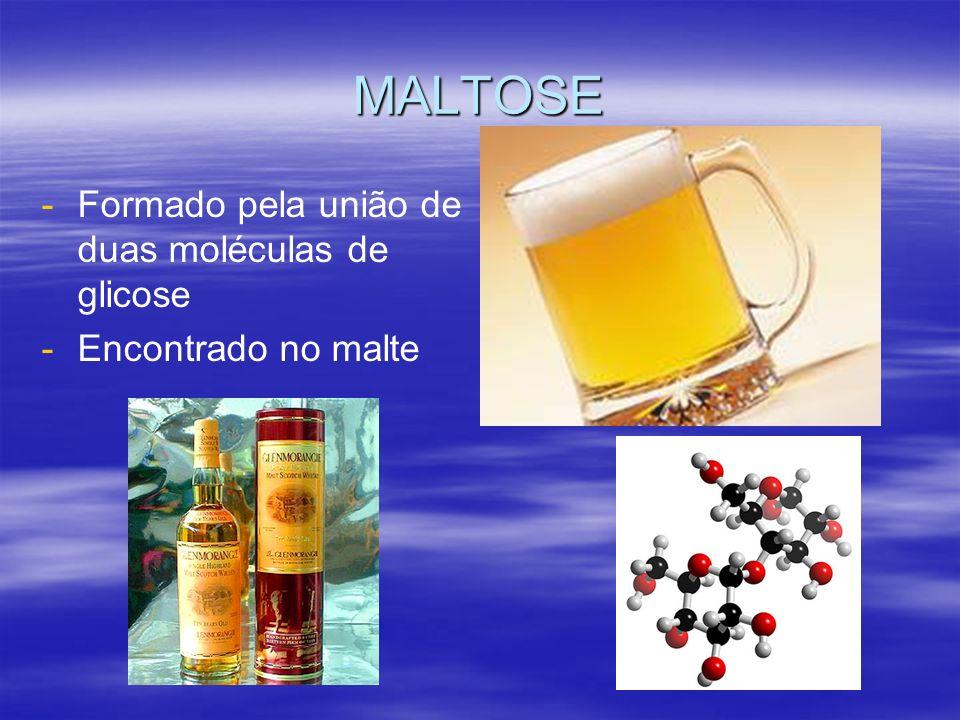 MALTOSE - -Formado pela união de duas moléculas de glicose - -Encontrado no malte