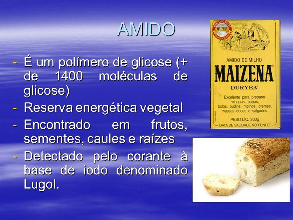 AMIDO -É um polímero de glicose (+ de 1400 moléculas de glicose) -Reserva energética vegetal -Encontrado em frutos, sementes, caules e raízes -Detectado pelo corante à base de iodo denominado Lugol.