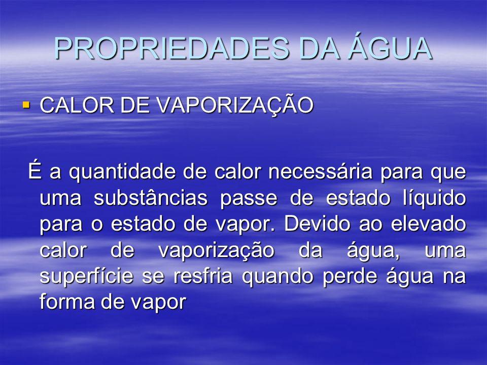 PROPRIEDADES DA ÁGUA CALOR DE VAPORIZAÇÃO CALOR DE VAPORIZAÇÃO É a quantidade de calor necessária para que uma substâncias passe de estado líquido para o estado de vapor.