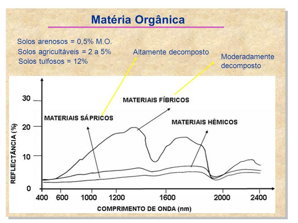 Matéria Orgânica Altamente decomposto Moderadamente decomposto Solos arenosos = 0,5% M.O. Solos agricultáveis = 2 a 5% Solos tulfosos = 12%