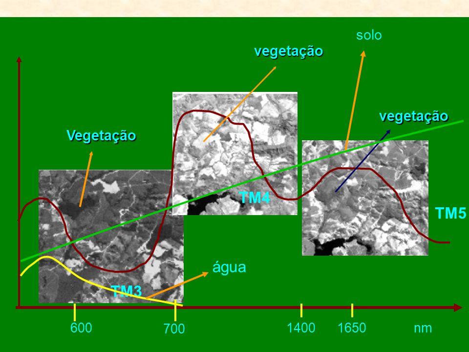 vegetação 600 700 14001650nm Vegetação vegetação TM3 TM4 TM5 água solo