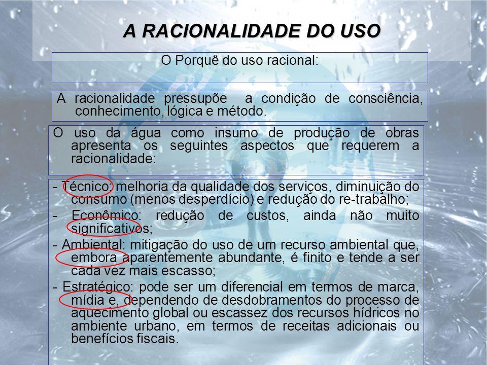 A RACIONALIDADE DO USO O Porquê do uso racional: A racionalidade pressupõe a condição de consciência, conhecimento, lógica e método.