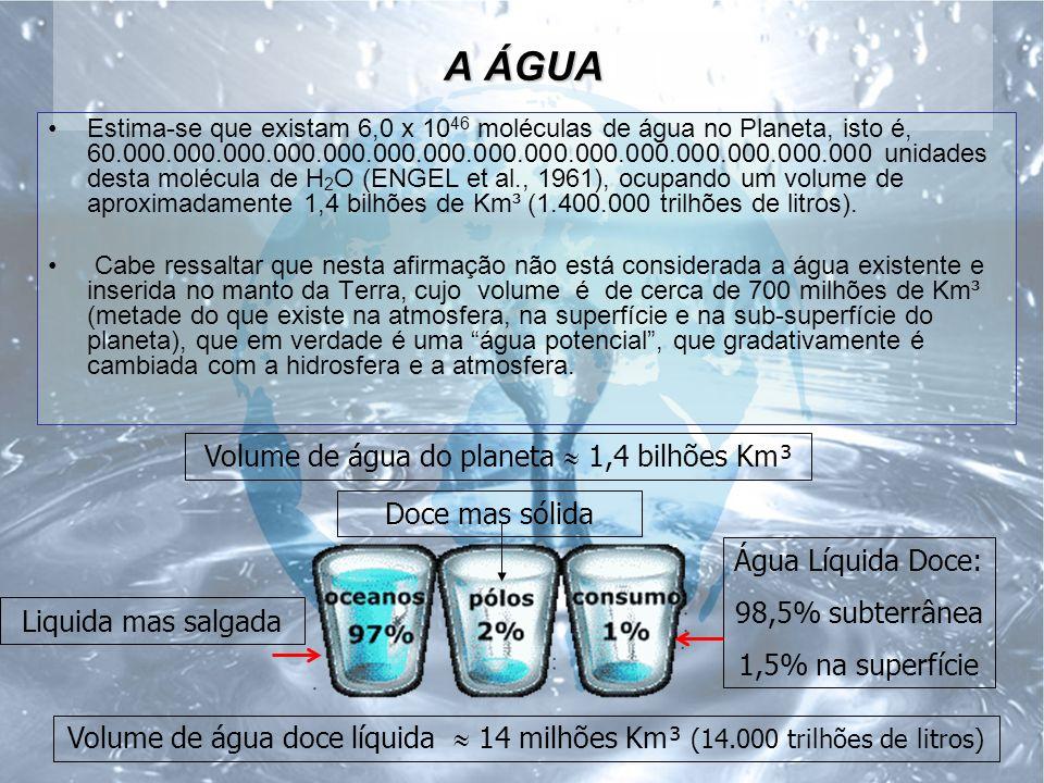 A ÁGUA Estima-se que existam 6,0 x 10 46 moléculas de água no Planeta, isto é, 60.000.000.000.000.000.000.000.000.000.000.000.000.000.000.000 unidades desta molécula de H 2 O (ENGEL et al., 1961), ocupando um volume de aproximadamente 1,4 bilhões de Km³ (1.400.000 trilhões de litros).