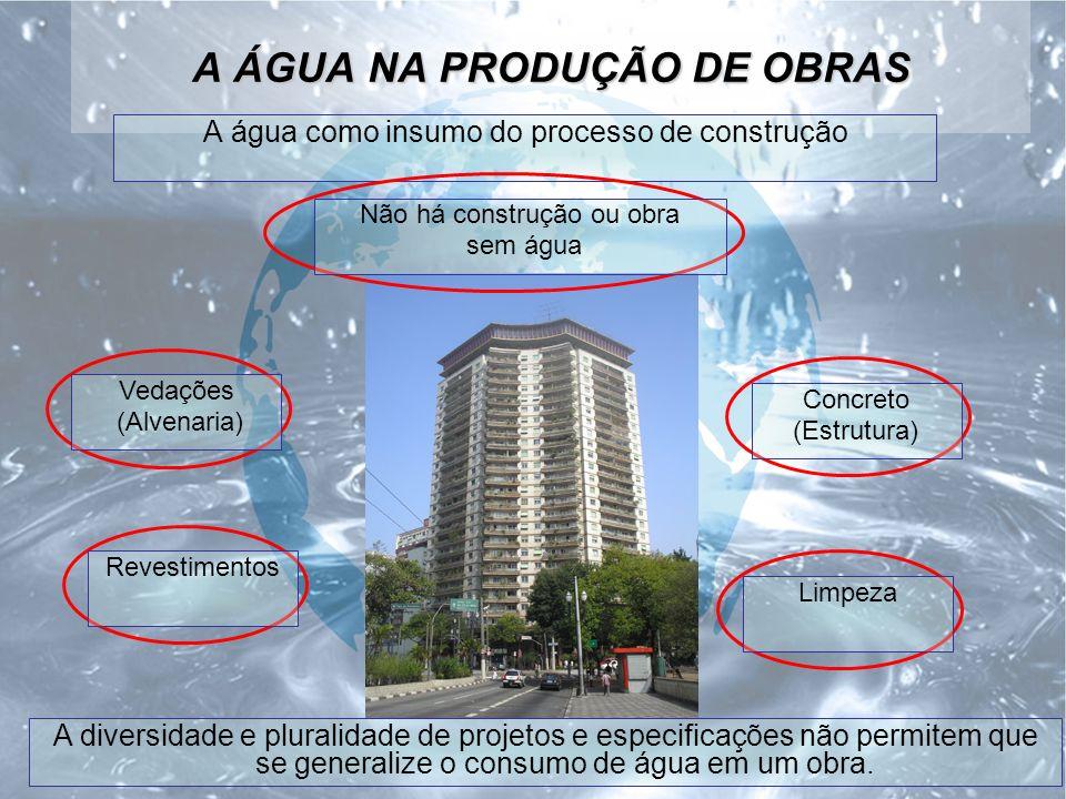 A ÁGUA NA PRODUÇÃO DE OBRAS A água como insumo do processo de construção A diversidade e pluralidade de projetos e especificações não permitem que se generalize o consumo de água em um obra.