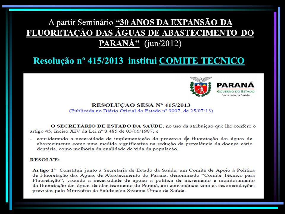 A partir Seminário 30 ANOS DA EXPANSÃO DA FLUORETAÇÃO DAS ÁGUAS DE ABASTECIMENTO DO PARANÁ