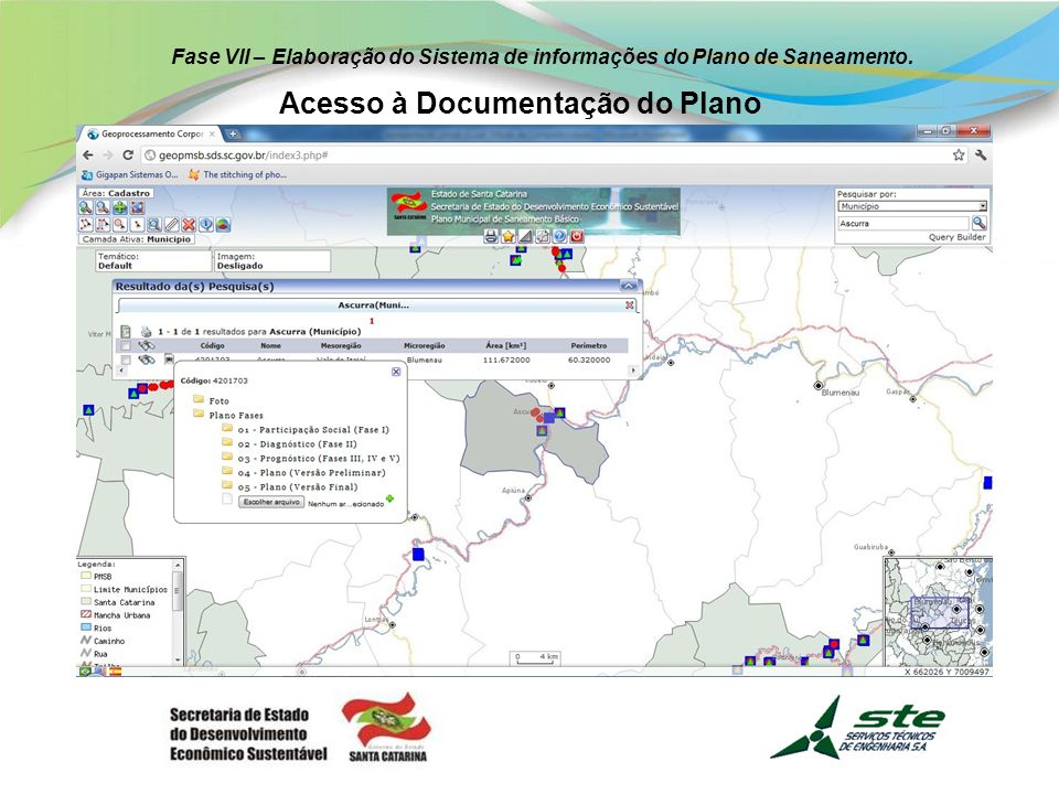 Fase VII – Elaboração do Sistema de informações do Plano de Saneamento. Geração de Gráficos