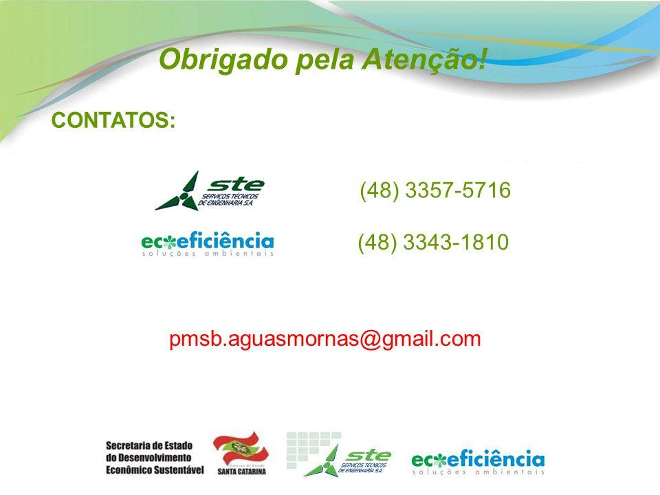 CONTATOS: (48) 3343-1810 (48) 3357-5716 pmsb.aguasmornas@gmail.com Obrigado pela Atenção!