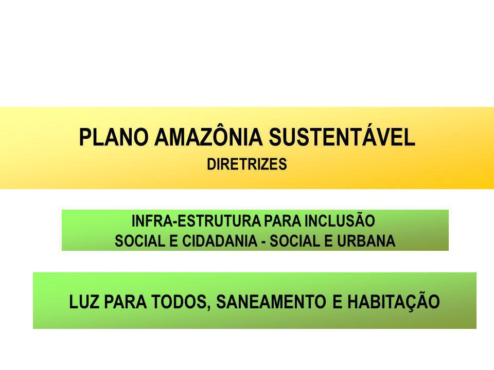 INFRA-ESTRUTURA PARA INCLUSÃO SOCIAL E CIDADANIA - SOCIAL E URBANA PLANO AMAZÔNIA SUSTENTÁVEL DIRETRIZES LUZ PARA TODOS, SANEAMENTO E HABITAÇÃO