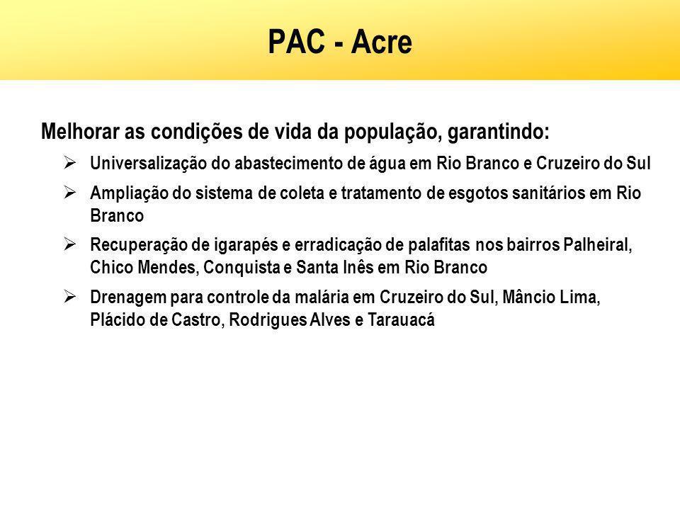 PAC - Acre Melhorar as condições de vida da população, garantindo: Universalização do abastecimento de água em Rio Branco e Cruzeiro do Sul Ampliação