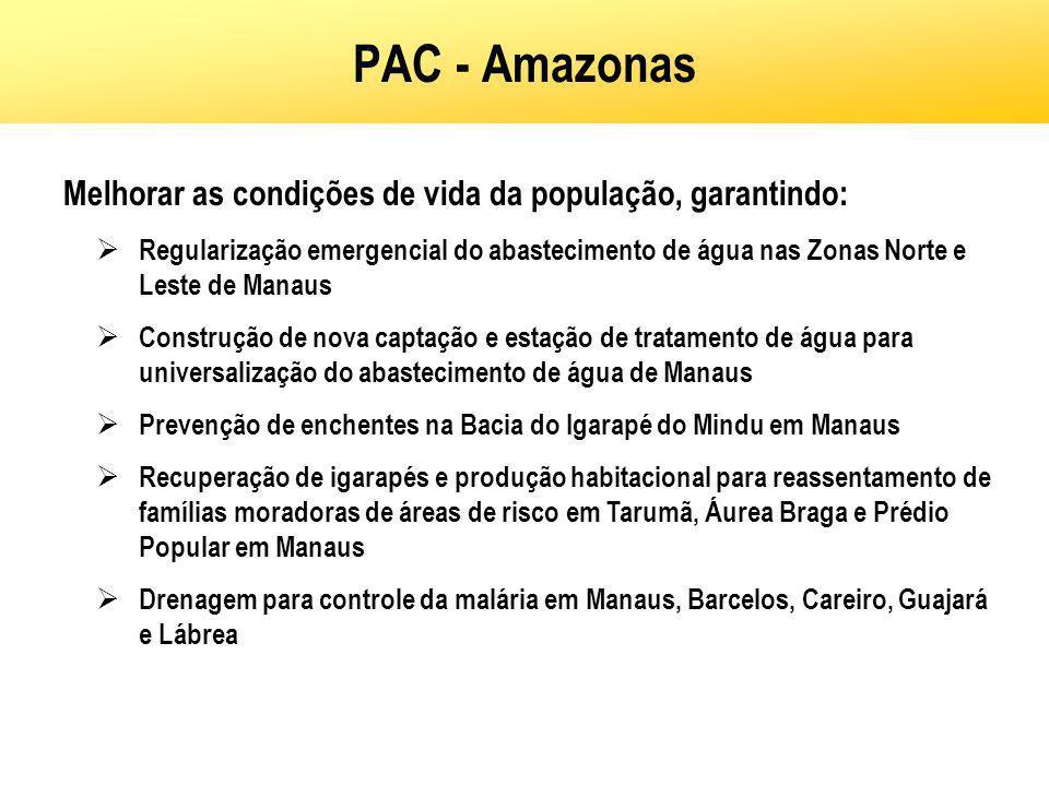 PAC - Amazonas Melhorar as condições de vida da população, garantindo: Regularização emergencial do abastecimento de água nas Zonas Norte e Leste de M
