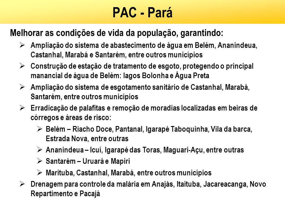 PAC - Pará Melhorar as condições de vida da população, garantindo: Ampliação do sistema de abastecimento de água em Belém, Ananindeua, Castanhal, Mara