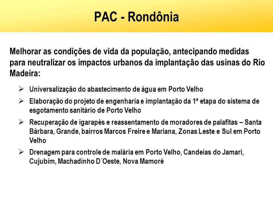 PAC - Rondônia Melhorar as condições de vida da população, antecipando medidas para neutralizar os impactos urbanos da implantação das usinas do Rio M