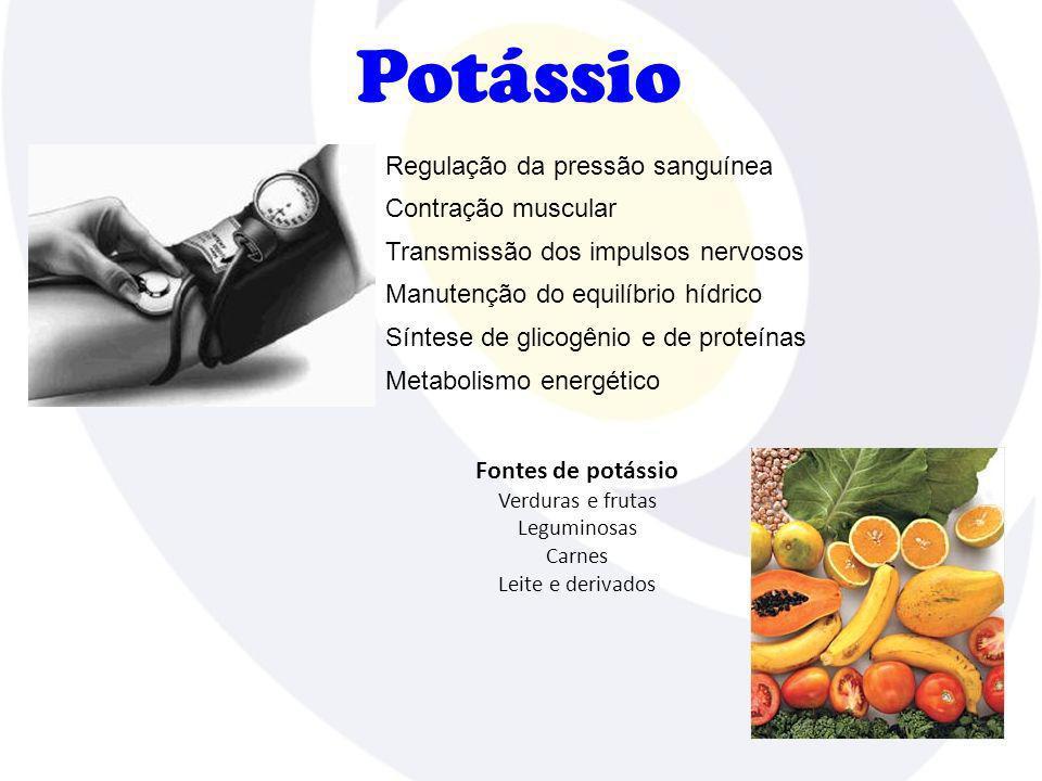 Potássio Contração muscular Fontes de potássio Verduras e frutas Leguminosas Carnes Leite e derivados Regulação da pressão sanguínea Transmissão dos i