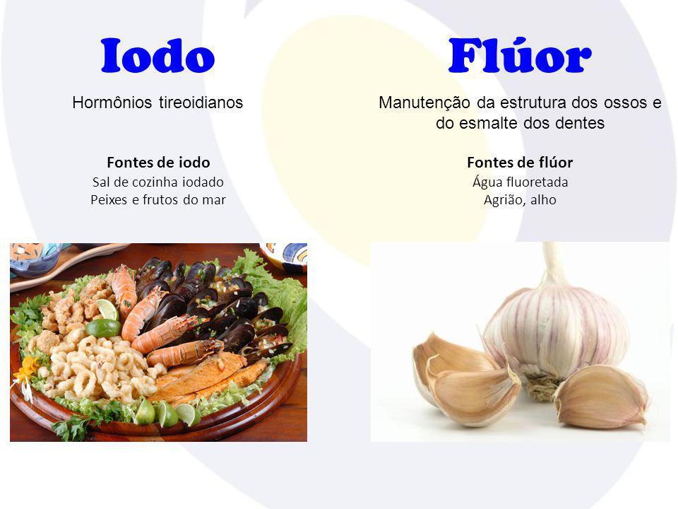 Iodo Fontes de iodo Sal de cozinha iodado Peixes e frutos do mar Hormônios tireoidianos Flúor Fontes de flúor Água fluoretada Agrião, alho Manutenção