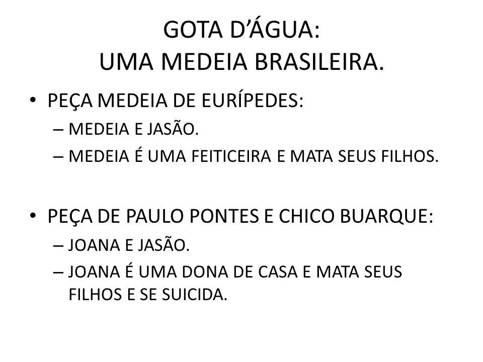 GOTA DÁGUA: UMA MEDEIA BRASILEIRA.PEÇA MEDEIA DE EURÍPEDES: – MEDEIA E JASÃO.