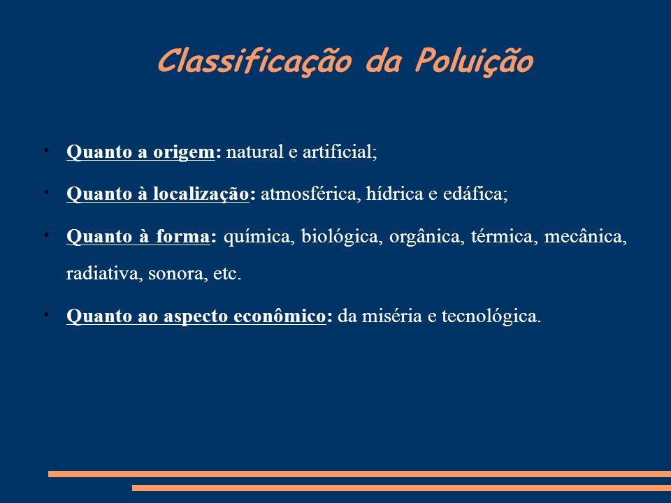 Classificação da Poluição Quanto a origem: natural e artificial; Quanto à localização: atmosférica, hídrica e edáfica; Quanto à forma: química, biológ