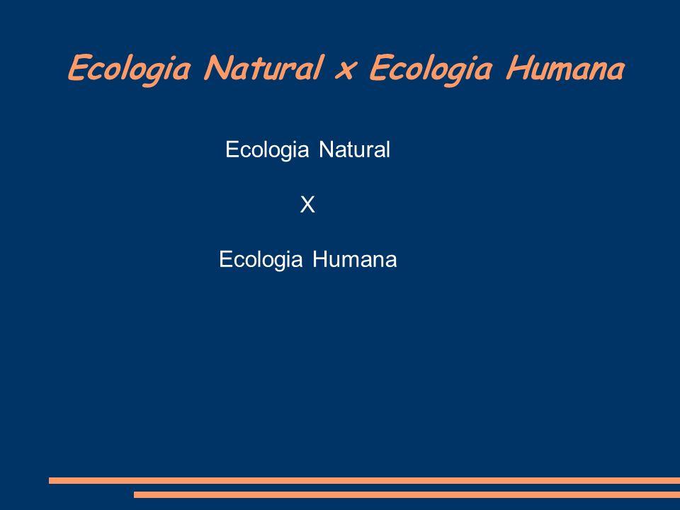 Ecologia Natural x Ecologia Humana Ecologia Natural X Ecologia Humana