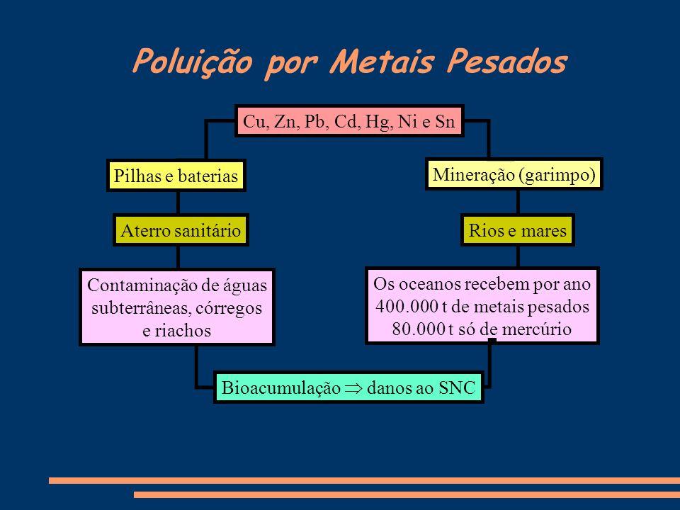 Poluição por Metais Pesados Cu, Zn, Pb, Cd, Hg, Ni e Sn Bioacumulação danos ao SNC Mineração (garimpo) Pilhas e baterias Rios e maresAterro sanitário
