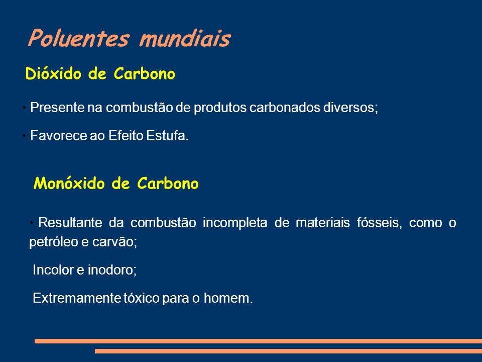 Poluentes mundiais Dióxido de Carbono Presente na combustão de produtos carbonados diversos; Favorece ao Efeito Estufa. Monóxido de Carbono Resultante