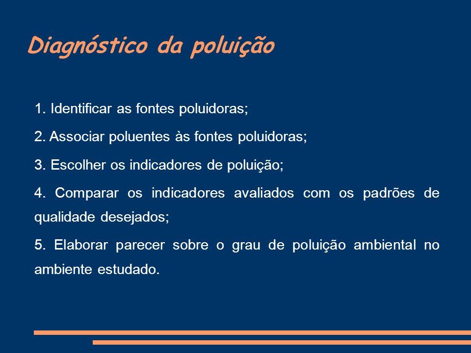 Diagnóstico da poluição 1. Identificar as fontes poluidoras; 2. Associar poluentes às fontes poluidoras; 3. Escolher os indicadores de poluição; 4. Co