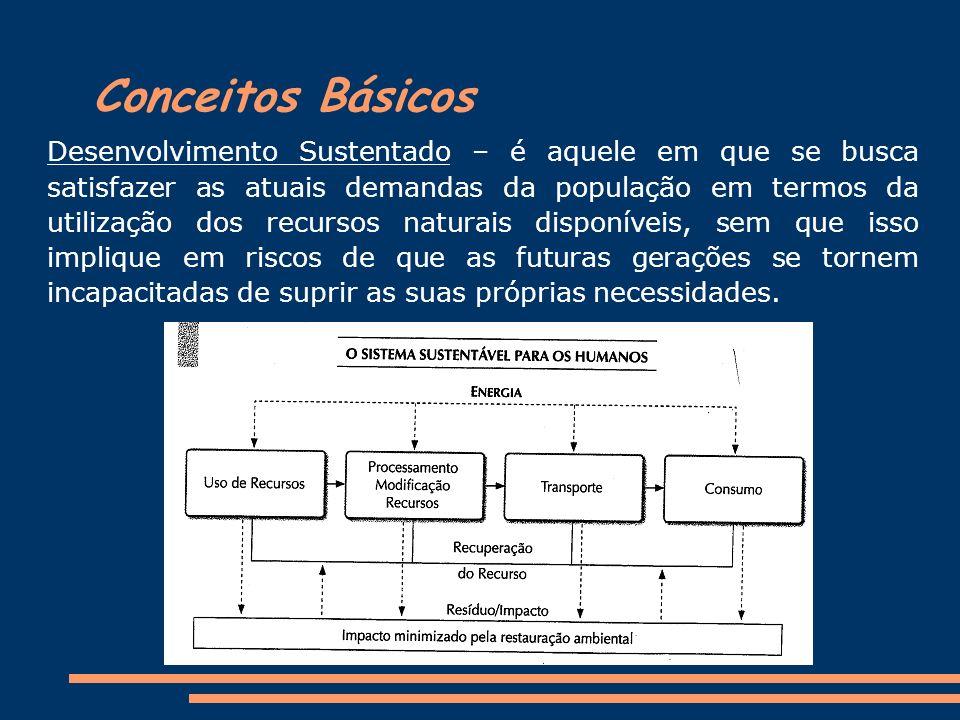 Conceitos Básicos Desenvolvimento Sustentado – é aquele em que se busca satisfazer as atuais demandas da população em termos da utilização dos recurso