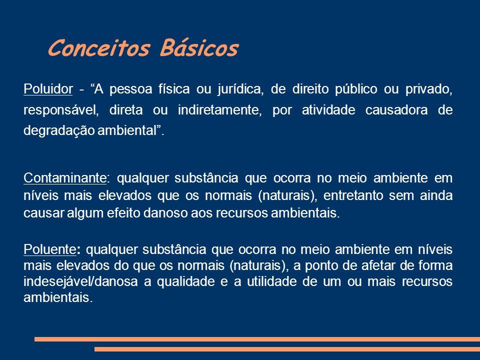 Conceitos Básicos Poluidor - A pessoa física ou jurídica, de direito público ou privado, responsável, direta ou indiretamente, por atividade causadora