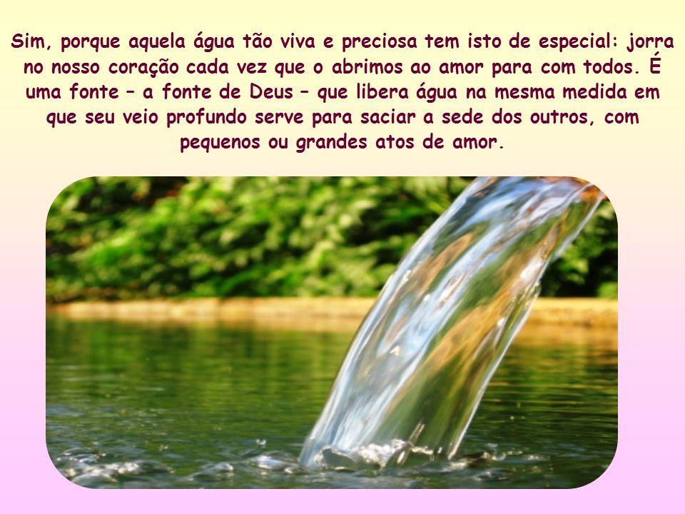 Cada gesto de amor ao nosso próximo é um gole daquela água.