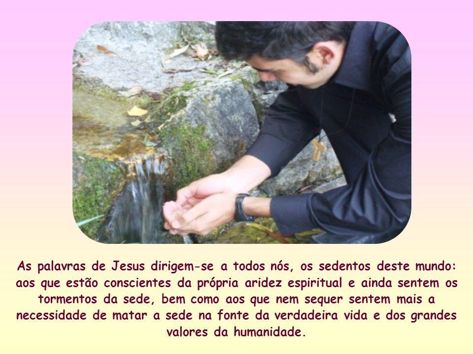 « Todo o que bebe dessa água, terá sede de novo; mas quem beber da água que eu darei, nunca mais terá sede: porque a água que eu darei se tornará nele uma fonte de água jorrando para a vida eterna ».