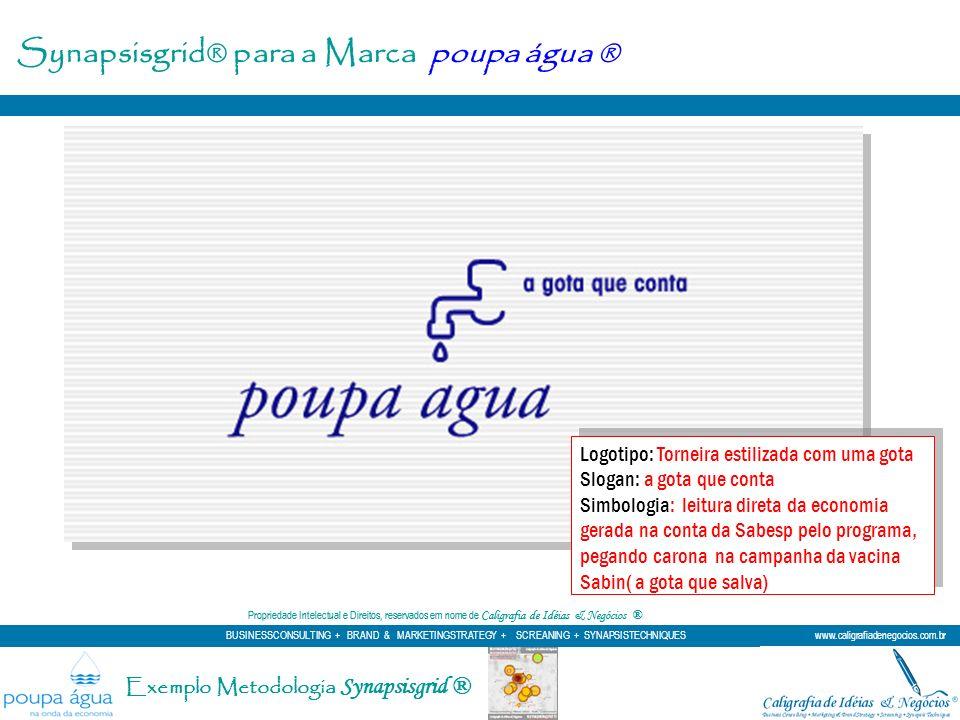 Synapsisgrid® para a Marca poupa água ® Logotipo: Torneira estilizada com uma gota Slogan: a gota que conta Simbologia: leitura direta da economia ger