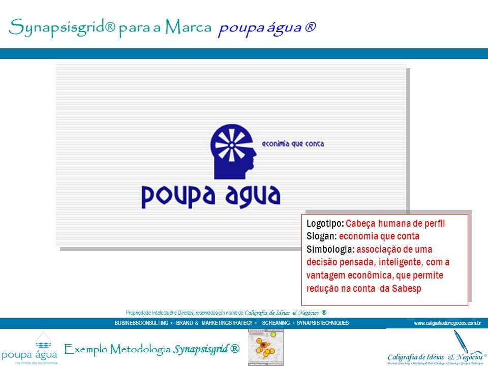 Synapsisgrid® para a Marca poupa água ® Logotipo: Cabeça humana de perfil Slogan: economia que conta Simbologia: associação de uma decisão pensada, in