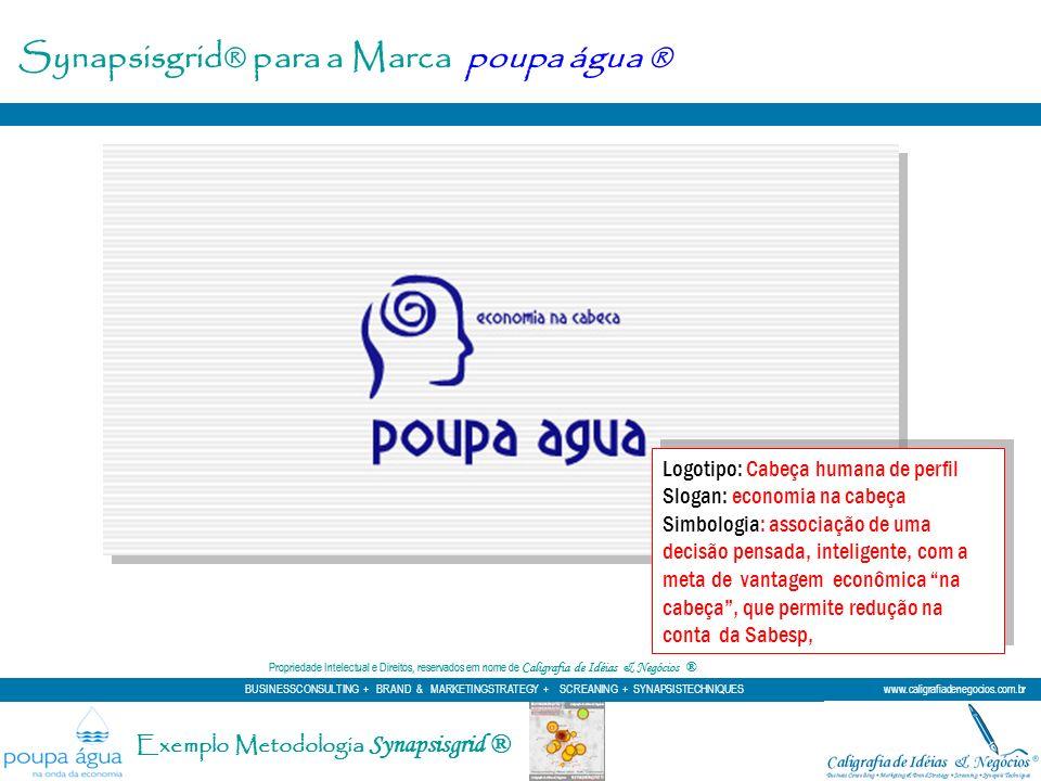 Synapsisgrid® para a Marca poupa água ® Logotipo: Cabeça humana de perfil Slogan: economia na cabeça Simbologia: associação de uma decisão pensada, in