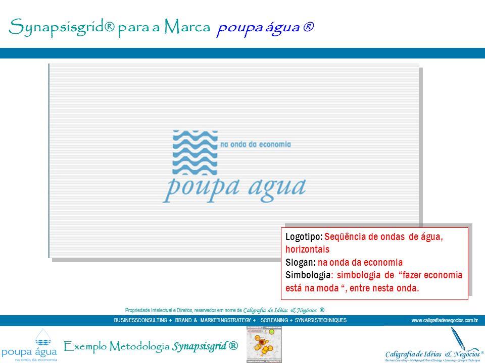 Synapsisgrid® para a Marca poupa água ® Logotipo: Seqüência de ondas de água, horizontais Slogan: na onda da economia Simbologia: simbologia de fazer