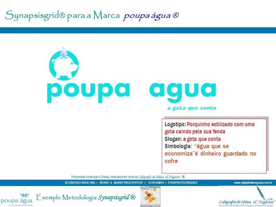 Synapsisgrid® para a Marca poupa água ® Logotipo: Porquinho estilizado com uma gota caindo pela sua fenda Slogan: a gota que conta Simbologia: água qu