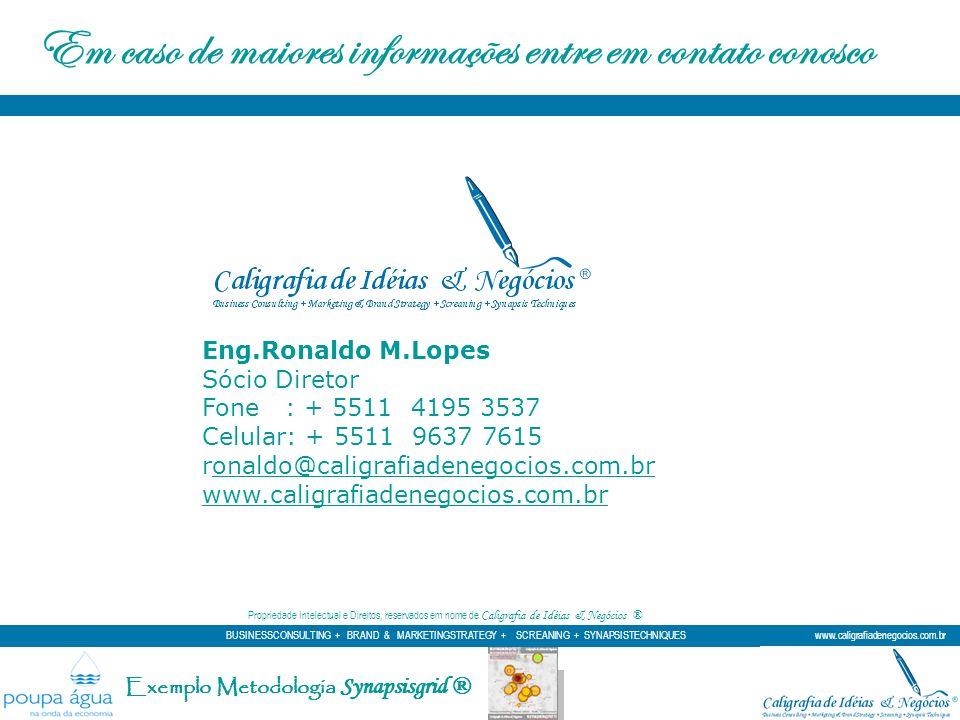 Exemplo Metodologia Synapsisgrid ® Propriedade Intelectual e Direitos, reservados em nome de Caligrafia de Idéias & Negócios ® Eng.Ronaldo M.Lopes Sóc